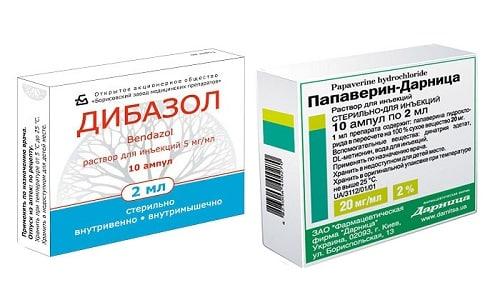 При повышенном давлении врачи назначают Дибазол и Папаверин